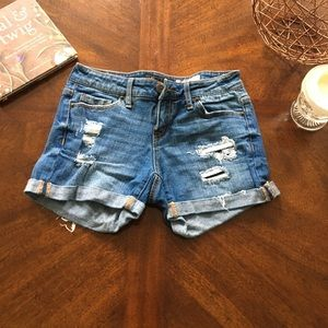 Distressed Midi Shorts